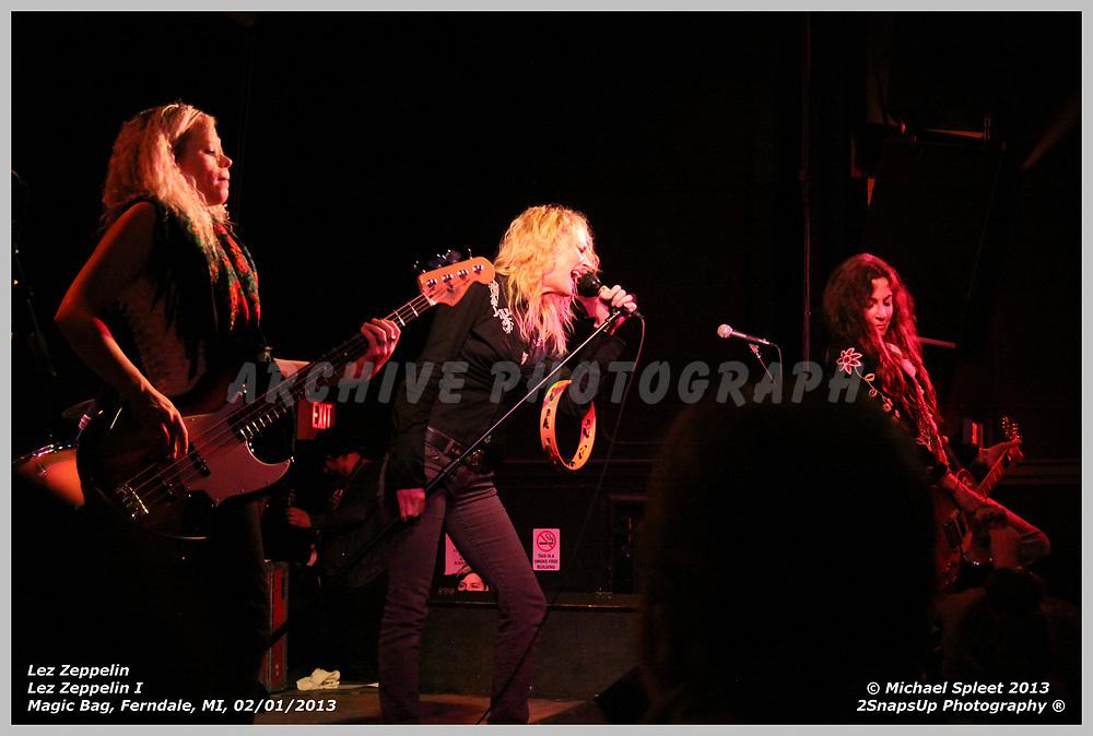 FERNDALE, MI, SATURDAY, FEB. 02, 2013: Lez Zeppelin, Led Zeppelin I  at Magic Bag, Ferndale, MI, 02/02/2013.  (Image Credit: Michael Spleet / 2SnapsUp Photography)