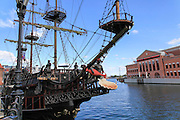 A replica of the 17th-century Galleon Lew in the Gdansk Harbour used as a tour boat on the river Motlawa