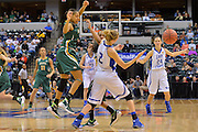 April 4, 2016; Indianapolis, Ind.; Adriana Dent and Kiki Robertson harass Nicole Hampton in the back court in the NCAA Division II Women's Basketball National Championship game at Bankers Life Fieldhouse between UAA and Lubbock Christian. The Seawolves lost to the Lady Chaps 78-73.