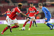 Middlesbrough forward Ashley Fletcher (18) plays a through ball to Middlesbrough forward Britt Assombalonga (9) during The FA Cup 3rd round match between Middlesbrough and Peterborough United at the Riverside Stadium, Middlesbrough, England on 5 January 2019.