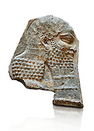 Stone relief sculptured panel of a Dignitary. Inv AO 7374 from Dur Sharrukin the palace of Assyrian king Sargon II at Khorsabad, 713-706 BC.  Louvre Museum Room 4 , Paris .<br /> <br /> If you prefer to buy from our ALAMY PHOTO LIBRARY  Collection visit : https://www.alamy.com/portfolio/paul-williams-funkystock/ancient-assyria-antiquities.html  Refine search by adding background colour, place, subject, museum etc into the LOWER SEARCH WITHIN GALLERY box to <br /> <br /> Visit our ANCIENT ASSYRIAN PHOTO COLLECTIONS for more photos to download or buy as wall art prints https://funkystock.photoshelter.com/gallery-collection/Ancient-Assyrian-Art-Artefacts-Antiquities-Historic-Sites-Pictures-Images-of/C0000cjRqQyJjLag