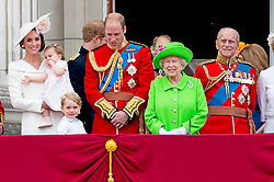 Duke and Duchess of Cambridge with their children Princess Charlotte and Prince George and Queen Elizabeth II on the balcony of Buckingham Palace, central London after they attended the Trooping the Colour ceremony as the Queen celebrates her official birthday today. The procession will be accompanied by a Sovereign's Escort of the Household Cavalry, made up of Life Guards and Blues and Royals, in their silver and gold breastplates and plumed helmets. The Colour being paraded is the flag of Number 7 Company Coldstream Guards - the unit last performed this special role in 2007. London, UK, on Saturday June 11, 2016. Photo by Robin Utrecht/ABACAPRESS.COM
