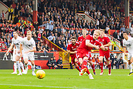 Abeerdeen's Gary Mack-Steven takes a penalty and scores a goal 1-0 and celebrates, celebration, during the UEFA Europa League Qualifying match between Aberdeen and Burnley at Pittodrie Stadium, Aberdeen, Scotland on 26 July 2018.