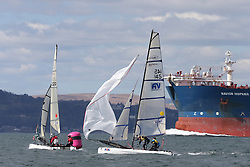 Image Credit Marc Turner.Spitfire, GBR 145, Tom BRITZ, Abbie HEWITT, Royal Lymington YC.Day 4, RYA Youth National Championships 2013 held at Largs Sailing Club, Scotland from the 31st March - 5th April. .