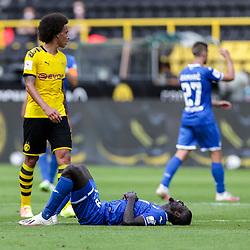 Ihlas Bebou (TSG 1899 Hoffenheim, #9) am Boden, links Axel Witsel (Borussia Dortmund, #28); 1. Fussball-Bundesliga; Borussia Dortmund - TSG Hoffenheim am 27.06.2020 im Signal-Iduna-Park in Dormund (Nordrhein-Westfalen). <br /> <br /> FOTO: BEAUTIFUL SPORTS/WUNDERL/POOL/PIX-Sportfotos<br /> <br /> DFL REGULATIONS PROHIBIT ANY USE OF PHOTOGRAPHS AS IMAGE SEQUENCES AND/OR QUASI-VIDEO. <br /> <br /> EDITORIAL USE OLNY.<br /> National and<br /> international NewsAgencies OUT.<br /> <br /> <br /> <br /> Foto © PIX-Sportfotos *** Foto ist honorarpflichtig! *** Auf Anfrage in hoeherer Qualitaet/Aufloesung. Belegexemplar erbeten. Veroeffentlichung ausschliesslich fuer journalistisch-publizistische Zwecke. For editorial use only. DFL regulations prohibit any use of photographs as image sequences and/or quasi-video.