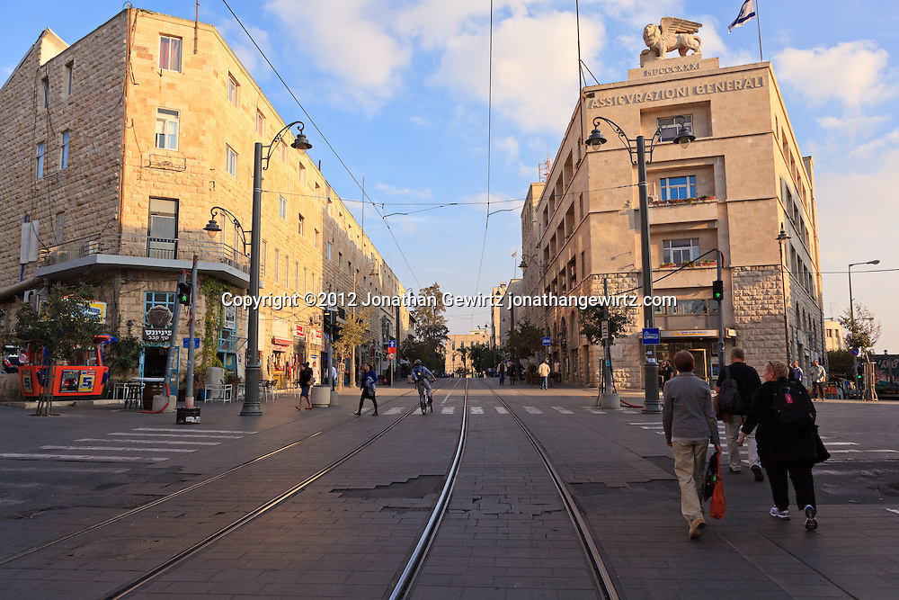 Tracks for Jerusalem's light rail system on Jaffa Street in downtown Jerusalem. WATERMARKS WILL NOT APPEAR ON PRINTS OR LICENSED IMAGES.