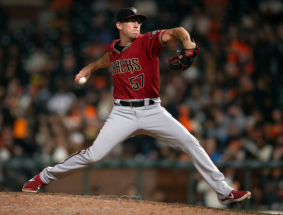 Sep 29, 2021; San Francisco, California, USA; Arizona Diamondbacks pitcher Taylor Widener (57) delivers a pitch against the San Francisco Giants during the sixth inning at Oracle Park. Mandatory Credit: D. Ross Cameron-USA TODAY Sports