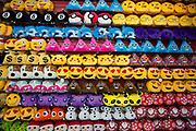 Cuddly soft toy emojis for sale at a souvenir shop in London, England, United Kingdom.