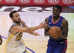 January 6, 2018 - Los Angeles, California, U.S - Stephen Curry #30 of the Golden State Warriors tries to block a pass during their NBA game with the Los Angeles Clippers on Saturday January 6, 2018 at the Staples Center in Los Angeles, California. Clippers vs Warriors. (Credit Image: © Prensa Internacional via ZUMA Wire)