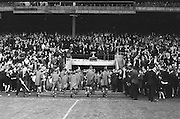 Marching band leaving the pitch before the All Ireland Senior Gaelic Football Final Kerry v Down in Croke Park on the 22nd September 1968. Down 2-12 Kerry 1-13.
