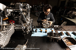 Tatsutya Fujii rebuilding a Harley-Davidson Knucklehead engine in his Duas Caras Cycles in Nagoya, Japan where he both builds custom bikes and does engine work for himself and other custom builders. Wednesday, December 5, 2018. Photography ©2018 Michael Lichter.