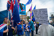 Pro and remain protesters  outside  the Houses of Parliament on 9th September 2019 in London, United Kingdom. Prime Minister Boris Johnson is tabling another motion to seek a general election.