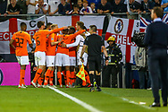 Goal Netherlands forward Quincy Promes (Sevilla) scores a goal and celebrates 2-1 during the UEFA Nations League semi-final match between Netherlands and England at Estadio D. Afonso Henriques, Guimaraes, Portugal on 6 June 2019.