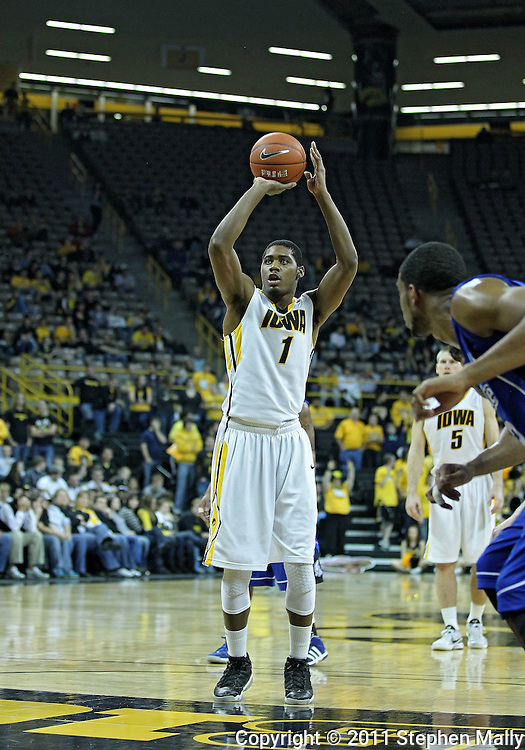 December 17, 2011: Iowa Hawkeyes forward Melsahn Basabe (1) puts up a free-throw attempt during the the NCAA basketball game between the Drake Bulldogs and the Iowa Hawkeyes at Carver-Hawkeye Arena in Iowa City, Iowa on Saturday, December 17, 2011. Iowa defeated Drake 82-68.