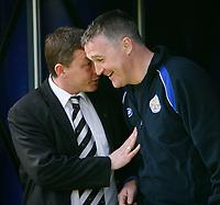 Photo: Steve Bond.<br />Leicester City v Derby County. Coca Cola Championship. 06/04/2007. Billy Davies (L) & Rob Kelly (R) share a joke before kick off