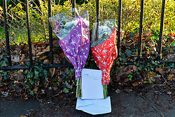 © Licensed to London News Pictures. 19th December 2014. Essex, UK. Flowers placed at the scene of the murder of an 18 year old male who was fatally stabbed yesterday at the Chelmsford Museum, Oaklands Park, Moulsham Street, Chelmsford. Two males aged 17 and 19 have been arrested in relation to this matter and remain in custody. Photo credit : Simon Ford/LNP