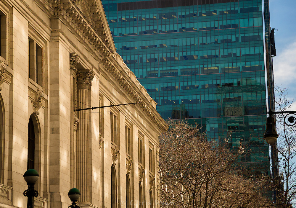 Light reflecting on New York Public Library, New York City
