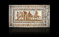 Picture of a Roman mosaics design depicting Dionysus drunk being transported on a chariot pulled by a centaur, they are followed by a Bacchante, follower of Bacchus, and a Satyr, from the ancient Roman city of Thysdrus. 3rd century AD House of Tertulla. El Djem Archaeological Museum, El Djem, Tunisia. Against a black background .<br /> <br /> If you prefer to buy from our ALAMY PHOTO LIBRARY Collection visit : https://www.alamy.com/portfolio/paul-williams-funkystock/roman-mosaic.html . Type - El Djem - into the LOWER SEARCH WITHIN GALLERY box. Refine search by adding background colour, place, museum etc<br /> <br /> Visit our ROMAN MOSAIC PHOTO COLLECTIONS for more photos to download as wall art prints https://funkystock.photoshelter.com/gallery-collection/Roman-Mosaics-Art-Pictures-Images/C0000LcfNel7FpLI