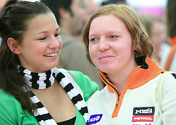 Ana Kobal and Marusa Ferk at press conference of Slovenian men and women alpine skiing national team before new season 2008/2009 in Hervis, City park, BTC, Ljubljana, Slovenia, on October 20, 2008.  (Photo by: Vid Ponikvar / Sportal Images)