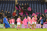 Visitors applaud their modest travelling fans after losing by one point the European Rugby Challenge Cup match between Edinburgh Rugby and Stade Francais at Murrayfield Stadium, Edinburgh, Scotland on 12 January 2018. Photo by Kevin Murray.