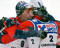 ◊Copyright:<br />GEPA pictures<br />◊Photographer:<br />Doris Hoefler<br />◊Name:<br />Hjelmeset<br />◊Rubric:<br />Sport<br />◊Type:<br />Ski nordisch, Langlauf<br />◊Event:<br />FIS Nordische Ski-Weltmeisterschaft, WM 2005, Nordische Kombination, Sprint<br />◊Site:<br />Oberstdorf, Deutschland<br />◊Date:<br />27/02/05<br />◊Description:<br />Odd-Bjoern Hjelmeset (NOR),  Frode Estil (NOR)<br />◊Archive:<br />DCSHO-2702054834<br />◊RegDate:<br />27.02.2005<br />◊Note:<br />8 MB - MP/WU - Nutzungshinweis: Es gelten unsere Allgemeinen Geschaeftsbedingungen (AGB) bzw. Sondervereinbarungen in schriftlicher Form. Die AGB finden Sie auf www.GEPA-pictures.com.<br />Use of picture only according to written agreements or to our business terms as shown on our website www.GEPA-pictures.com.