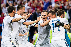 July 1, 2018 - Moscow, Russia - Russian players celebrate after their 4:3 Round of 16 win on penalties against Spain during FIFA World Cup action at Luzhniki Stadium. (Credit Image: © Petter Arvidson/Bildbyran via ZUMA Press)