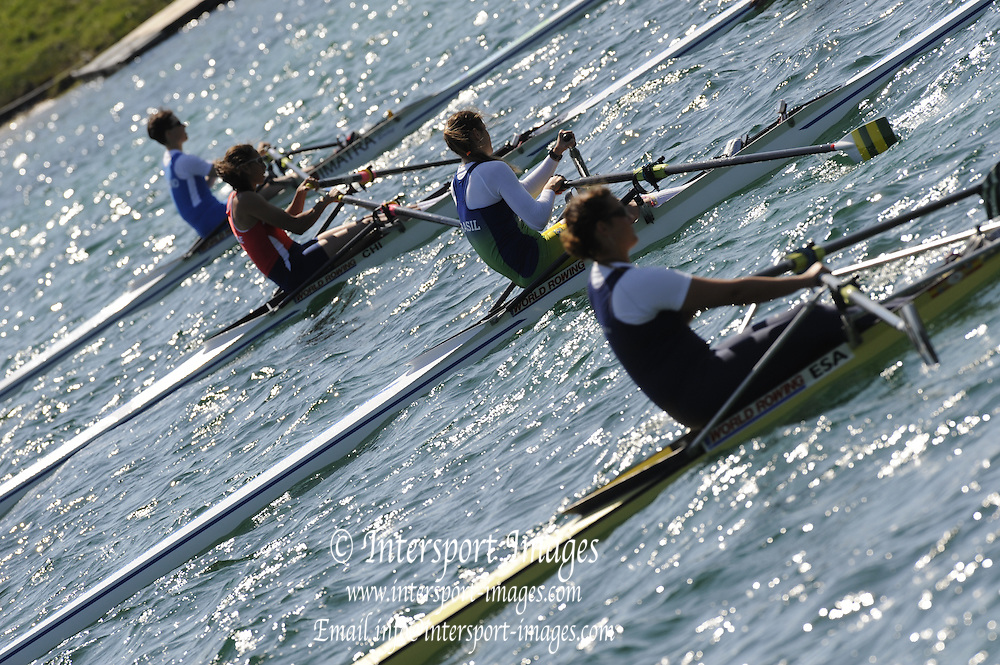 Munich, GERMANY, Women's  single scull at the start. FISA World Cup at the Munich Olympic Rowing Course, Thur's.  09/05/2008  [Mandatory Credit Peter Spurrier/ Intersport Images] Rowing Course, Olympic Regatta Rowing Course, Munich, GERMANY