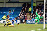 Gillingham FC forward Brandon Hanlan (7) has a shot during the EFL Sky Bet League 1 match between Gillingham and Scunthorpe United at the MEMS Priestfield Stadium, Gillingham, England on 16 February 2019.