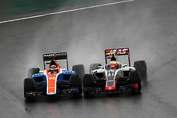 (L to R): Pascal Wehrlein (GER) Manor Racing MRT05 and Esteban Gutierrez (MEX) Haas F1 Team VF-16 battle for position.<br /> 13.11.2016. Formula 1 World Championship, Rd 20, Brazilian Grand Prix, Sao Paulo, Brazil, Race Day.<br />  <br /> / 131116 / action press