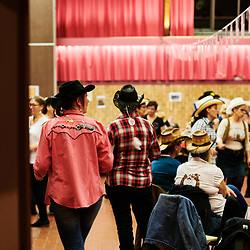 Des amateur de danse country en pleine choregraphie lors d'une soiree organisee par l'association Hell's Boots. Villeneuve-Saint-Germain, France. 17 novembre 2019. <br /> Country dance enthusiasts enjoying themselves during an evening held by the Hell's Boots association. Villeneuve-Saint-Germain, France. November 17, 2019.