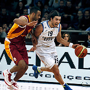 Anadolu Efes's Sasha Vujacıc (R) during their Turkish Basketball League match Anadolu Efes between Galatasaray at Abdi Ipekci Arena in Istanbul, Turkey, Wednesday, January 04, 2012. Photo by TURKPIX