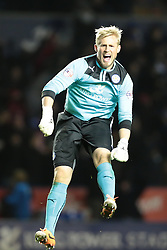 Leicester City's Kasper Schmeichel celebrates Leicester's 4th goal  - Photo mandatory by-line: Nigel Pitts-Drake/JMP - Tel: Mobile: 07966 386802 29/12/2013 - SPORT - FOOTBALL - King Power Stadium - Leicester - Leicester City v Bolton Wanderers - Sky Bet Championship
