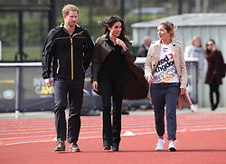 Prince Harry and Ms Meghan Markle accompanied by Jayne Kavanagh Invictus Games UK Team Chef de Mission as they attend the UK Team Invictus Games trials held at Bath University Sports training village in Somerset. Prince Harry and Ms Meghan Markle joined wounded, injured and sick military personnel and veterans who are trying out for a place on the UK team at the Invictus Games Sydney 2018 <br />Photo credit should read Chris Radburn/EMPICS Entertainment