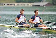 Bled, SLOVENIA,  Bow, Bill LUCAS and Sam TOWNSEND GBR M2X. move away from the start in their heat on the opening day, FISA World Cup, Bled venue, Lake Bled.  Friday  28/05/2010  [Mandatory Credit Peter Spurrier/ Intersport Images]