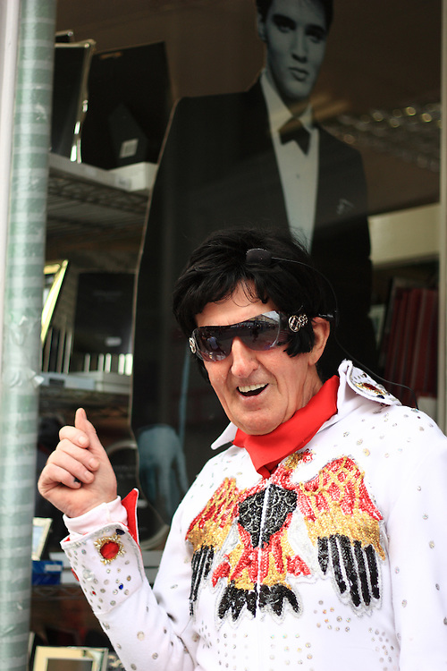 Jeremiah raises money for charity though his Elvis impersonations. Each year the South Wales seaside town of Porthcawl is home to the Elvis Festival