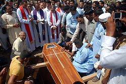 PESHAWAR, Sept. 3, 2016 (Xinhua) -- Pakistani Christians attend a funeral ceremony of a civilian who was killed in yesterday's terrorist attack at a residential complex in northwest Pakistan's Peshawar, Sept. 3, 2016. Pakistani security forces killed four terrorists who attacked a residential complex of a key dam near the northwestern city of Peshawar on Friday, the military said. (Xinhua/Umar Qayyum).****Authorized by ytfs* (Credit Image: © Umar Qayyum/Xinhua via ZUMA Wire)