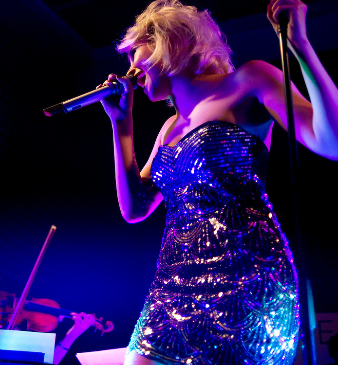 Pixie Lott is performing at the launch party of her new album on the 'The Silver Sturgeon' boat in London. (Bogdan Maran/ BigPictures/1989)