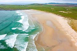Aerial view of beach at Machir Bay on west coast of Islay, Inner Hebrides, Argyll & Bute, Scotland, UK