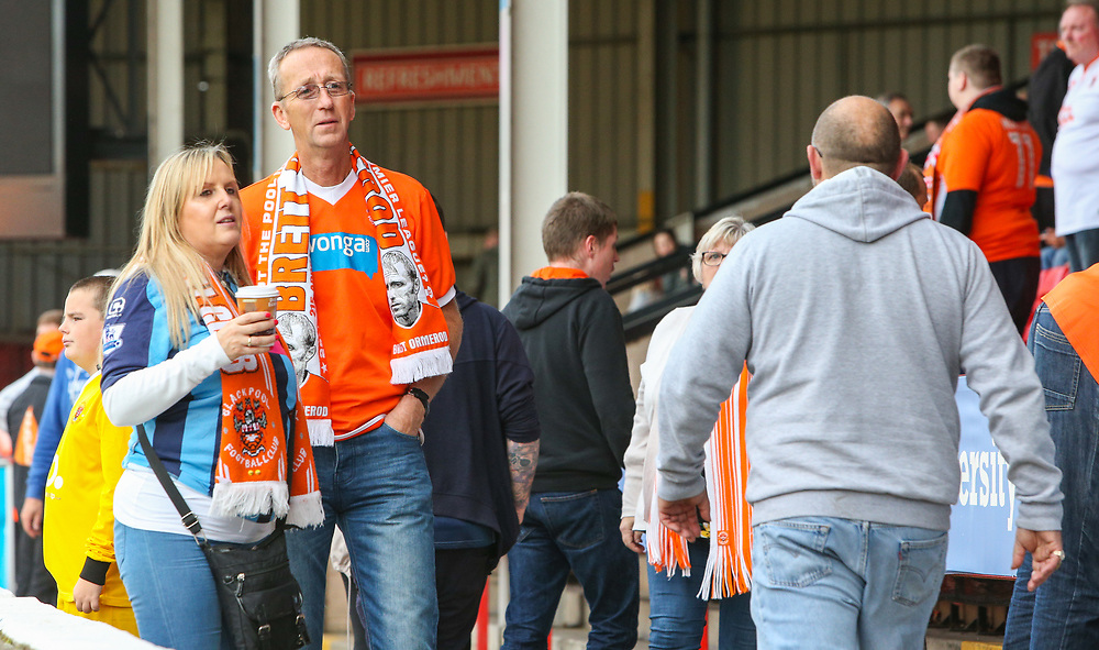 Blackpool fans wait for the second half to start<br /> <br /> Photographer Alex Dodd/CameraSport<br /> <br /> The EFL Sky Bet League One - Walsall v Blackpool - Saturday 14th October 2017 - Bescot Stadium - Walsall<br /> <br /> World Copyright © 2017 CameraSport. All rights reserved. 43 Linden Ave. Countesthorpe. Leicester. England. LE8 5PG - Tel: +44 (0) 116 277 4147 - admin@camerasport.com - www.camerasport.com
