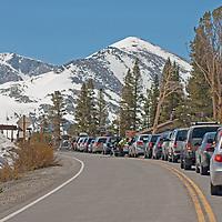 Traffic jams up at the Tioga Pass entrance station to California's Yosemite National Park.