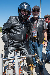Willie G. Davidson (R) with Bill Rodencal, the Harley-Davidson Museum Archives Motorcycle Restorer, on his 1915 Harley-Davidson Model 11-K twin cylinder racer in Billy Lane's Son's of Speed race during Daytona Bike Week. New Smyrna Beach, FL. USA. Saturday March 18, 2017. Photography ©2017 Michael Lichter
