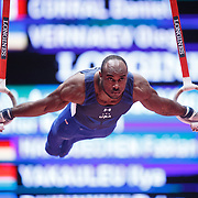 Donnell Whittenburg of the USA performs on the Rings at the 46th FIG Artistic Gymnastics World Championships in Glasgow, Britain, 25 October 2015.