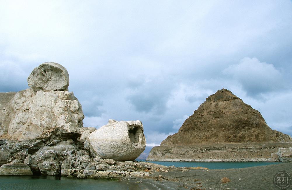 """Pyramid Lake, Nevada""- This is a photograph of both Stone Mother and Pyramid Rock at Pyramid Lake, Nevada. <br /> Photographed: December 2007"