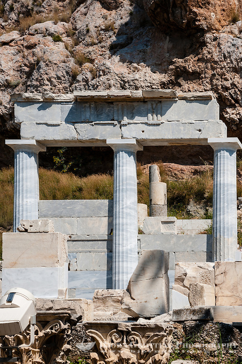 Greece, Athens. The Acropolis with several famous ancient strucures.