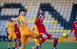 Livingston Declan Gallagher and Aberdeen's Bruce Anderson. half time : Livingston 0 v 0 Aberdeen, SPFL Ladbrokes Premiership played 29/1/2018 at Livingston home ground, Tony Macaroni Arena.