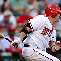 21 July 2007:  Washington Nationals left fielder Ryan Church (19) hits a double to deep right field in the 7th inning against Colorado Rockies pitcher Rodrigo Lopez.  The Nationals defeated the Rockies 3-0 at RFK Stadium in Washington, D.C.  ****For Editorial Use Only****