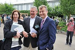 Left to right, PHILIPPA BRAITHWAITE, MARTIN CLUNES and HUGH DENNIS at the 2012 RHS Chelsea Flower Show held at Royal Hospital Chelsea, London on 21st May 2012.