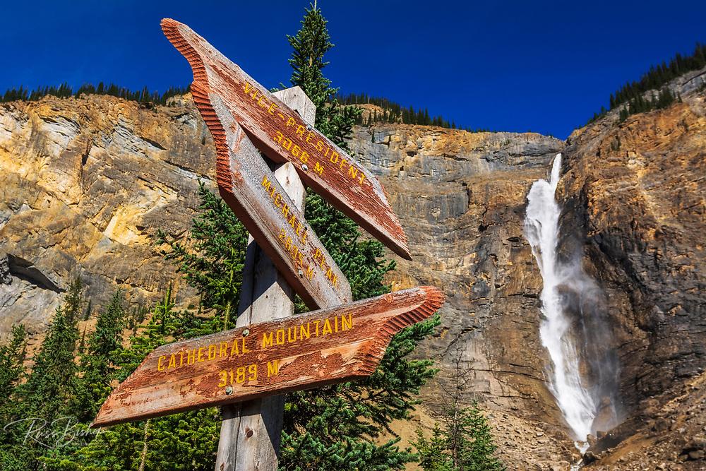 Takakkaw Falls and interpretive sign, Yoho National Park, British Columbia, Canada