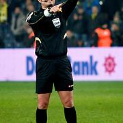 Referee's Tolga Ozkalfa during their Turkish superleague soccer match Fenerbahce between Genclerbirligi at the Sukru Saracaoglu stadium in Istanbul Turkey on Saturday 03 March 2012. Photo by TURKPIX