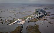 Aerial view of  Pointe-aux-Chenes, in Terrebonne Parish, Louisiana.